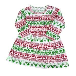 Baby Christmas Dress 18 Months White Red Reindeer